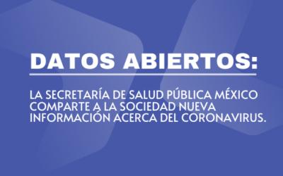 DATOS ABIERTOS: LA SECRETARÍA DE SALUD PÚBLICA MÉXICO COMPARTE A LA SOCIEDAD NUEVA INFORMACIÓN ACERCA DEL CORONAVIRUS
